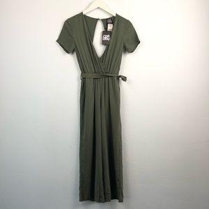 LF One Way olive green surplice tie waist jumpsuit
